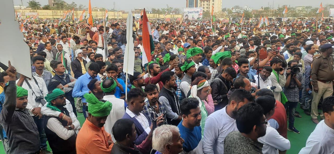 हज़ारीबाग में कांग्रेस ने किसानों के समर्थन में ट्रैक्टर रैली का आयोजन किया